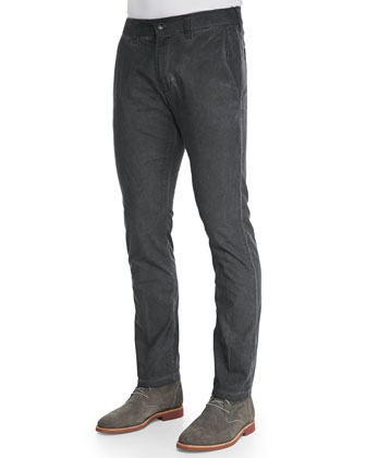 Cold-Dyed Slim-Fit Pants, Charcoal