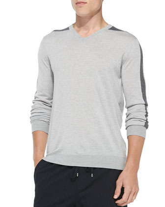 V-Neck Colorblock Merino Sweater, Light Gray/Charcoal