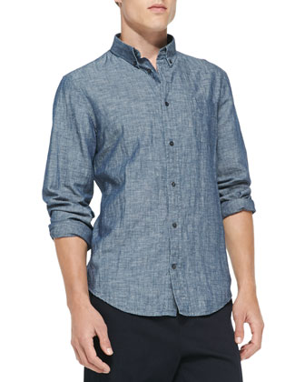 Linen-Blend Chambray Shirt, Navy