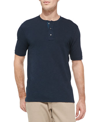 Jersey Flame Short-Sleeve Henley, Coastal