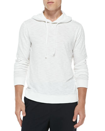 Slub-Jersey Pullover Hoodie, White