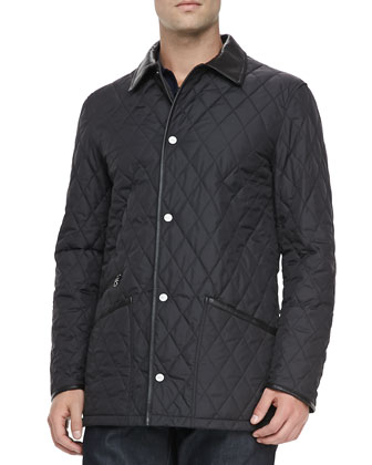 Diamond Quilt Barn Coat, Black
