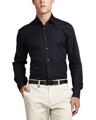 Gancini Tonal Woven Sport Shirt, Navy