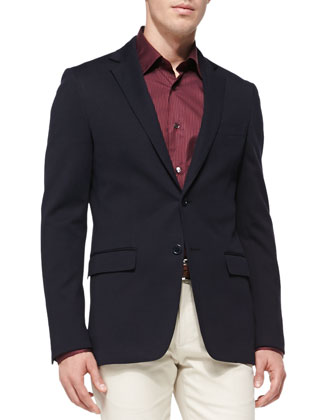 Jersey Sport Coat, Small-Check Woven Shirt & Cotton Gabardine Pants