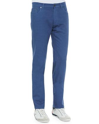 5-Pocket Twill Pants, Blue