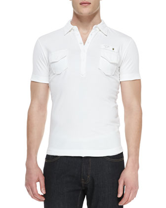 T. Maya Jersey Polo Shirt, White