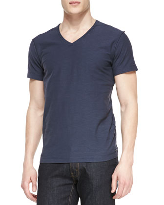 T. Toss Slub V-Neck Tee, Navy