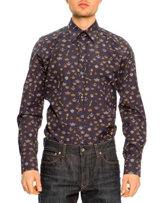 Printed-Poplin Long-Sleeve Shirt