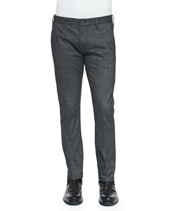 Bowery Fine-Striated Trousers, Dark Gray