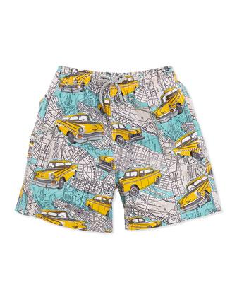 Boy's New York City Swim Trunks, Multi, Sizes 8-12