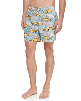 Men's New York City Moorea Swim Trunks, Multi