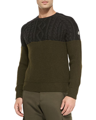 Crewneck Sweater with Cable-Knit Top