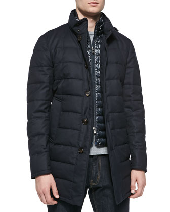 Quilted Wool Longer Puffer Jacket