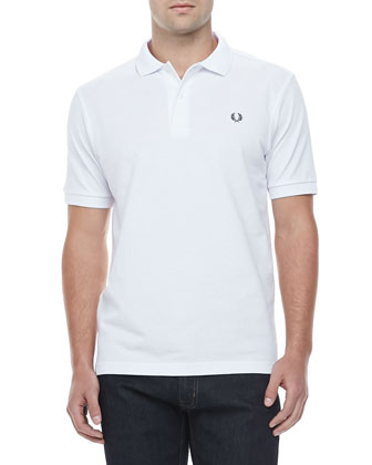 Solid Short-Sleeve Polo Shirt, White