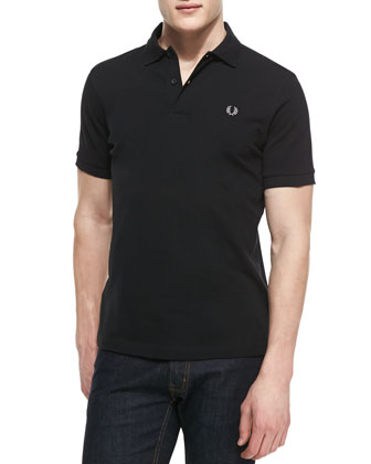 Short-Sleeve Polo Shirt, Black