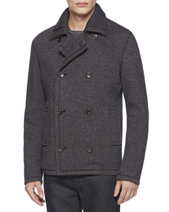 Jersey Jacquard Jacket, Med Gray