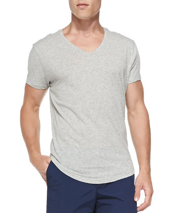 Heather-Knit V-Neck Tee, Gray