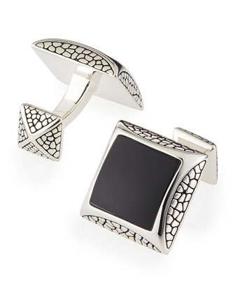 Pebbled Silver Cuff Links with Onyx