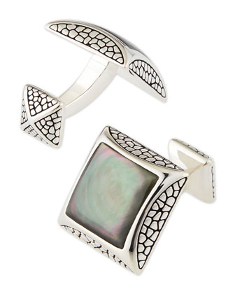 Pebbled Silver Cuff Links with Mother-Of-Pearl