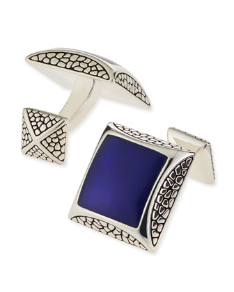 Pebbled Silver Cuff Links with Lapis