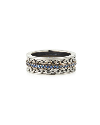 Men's Silver Ring with Blue Sapphire