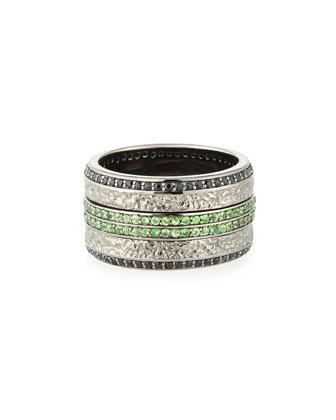 Men's Sapphire & Tsavorite Ring
