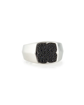 Men's Sterling and Black Sapphire Signet Ring