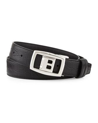 Croc-Embossed Reversible Belt, Black