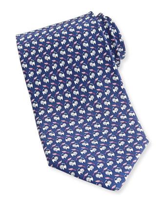 Lion-Print Silk Tie, Navy
