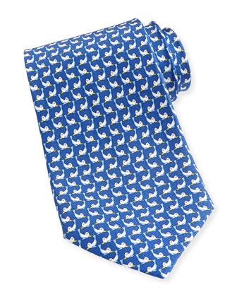 Seal-Print Silk Tie, Blue