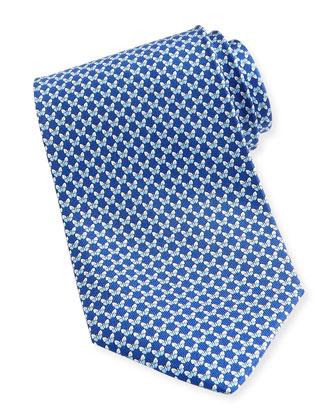 Butterfly-Print Silk Tie, Navy