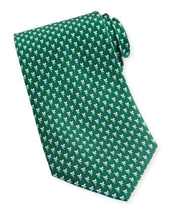 Hibiscus/Mouse-Print Silk Tie, Green