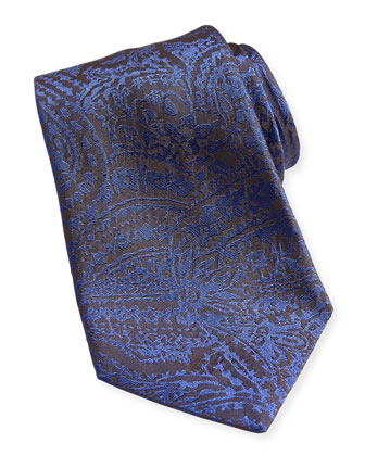 Burnout-Paisley Silk Tie, Blue