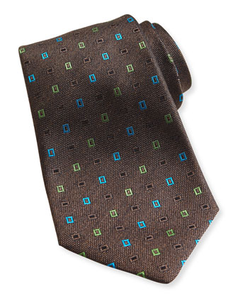 Neon-Rectangle Woven Tie, Brown
