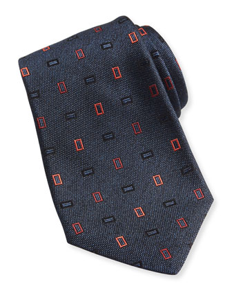Neon-Rectangle Woven Tie, Blue