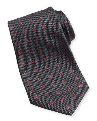 Neon-Neat Silk Tie, Gray