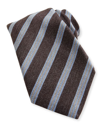 Awning-Stripe Wool/Silk Tie, Brown