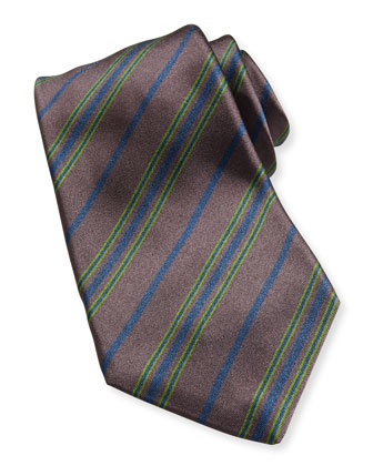 Multi-Stripe Silk Tie, Brown/Green