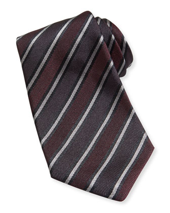 Textured Stripe Woven Tie, Burgundy