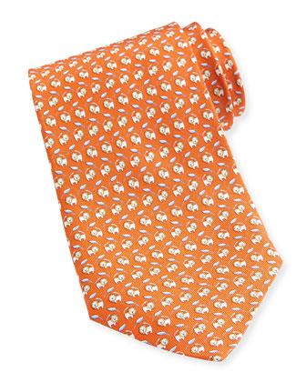 Lion-Print Silk Tie, Orange