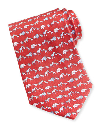 Jungle-Print Silk Tie, Red