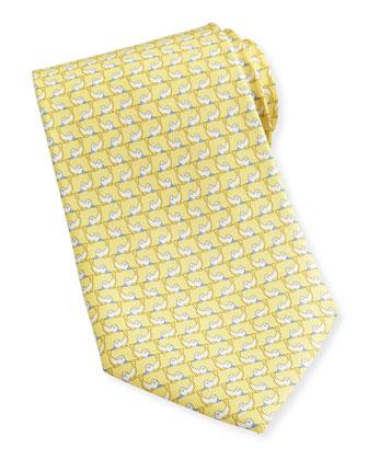 Seal-Print Silk Tie, Yellow