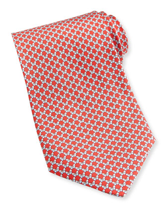 Butterfly-Print Silk Tie, Red