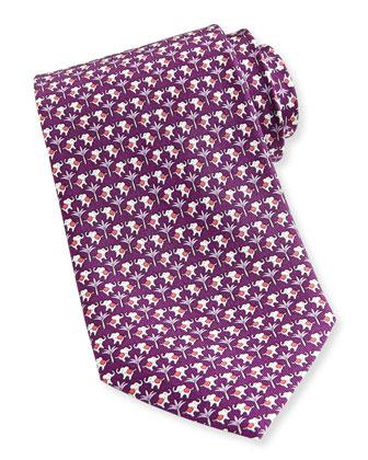 Elephant-Print Silk Tie, Purple