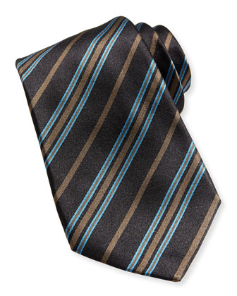 Multi-Stripe Silk Tie, Brown/Teal