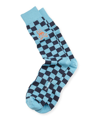 Men's Checkerboard Knit Socks, Light Blue