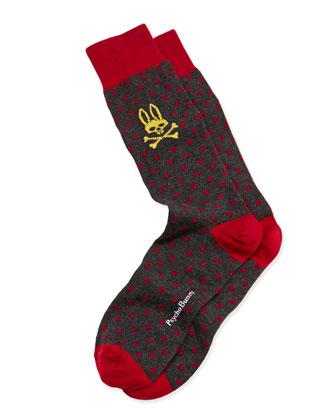 Men's Small-Polka-Dot Socks, Charcoal