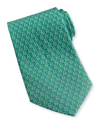 Interlock-Gancini Woven Tie, Green