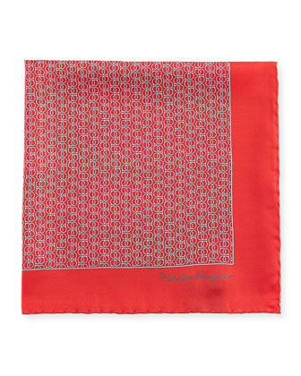 Interlock-Gancini Pocket Square, Red