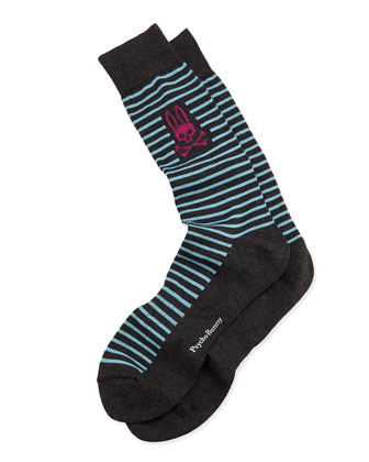 Men's Thin-Stripe Socks, Gray
